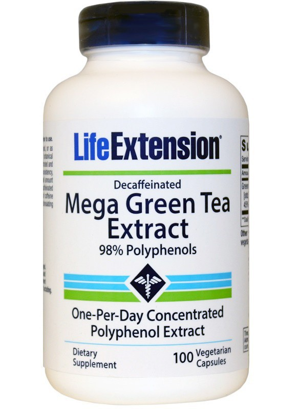 Mega Green Tea Extract decaf 100 capsules (by Life Extension)